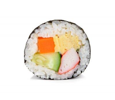 Nálepka sushi rolka na bílém.