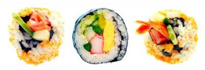 Nálepka Sushi rolka s rýží na bílém pozadí