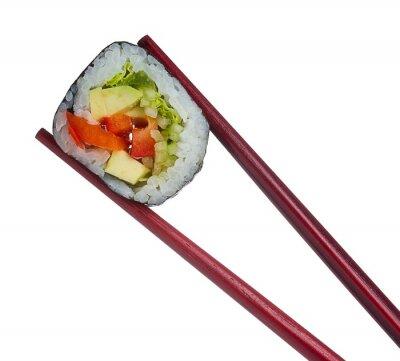 Nálepka Sushi rolka v hůlky na bílém pozadí