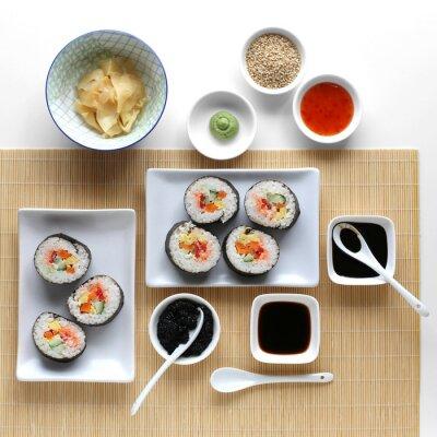 Nálepka Sushi, sojová omáčka, zázvor a wasabi