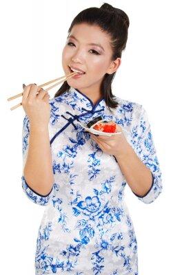Nálepka Suši žena drží suši s hůlkami