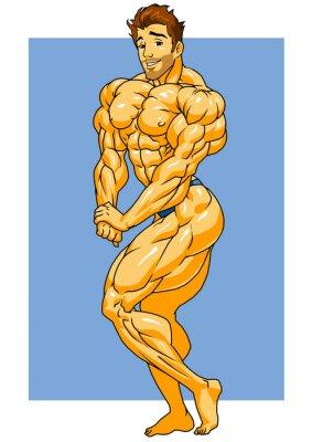 Nálepka svalová kulturista lodě, ilustrace, barva, logo, izolovaných na bílém