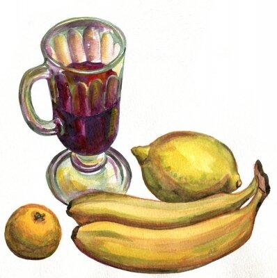 Nálepka Svařené víno, banány, citron a mandarinka. akvarelu