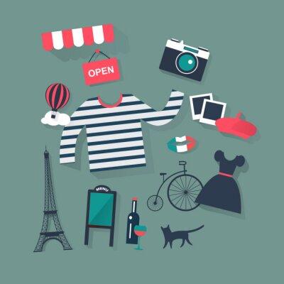 Nálepka svátky a prázdniny byt vektorové ikony francouzské módy a bist