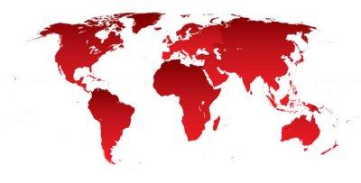 Nálepka Světová mapa červené kontinenty