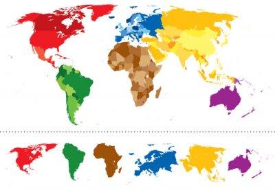 Nálepka Světová mapa kontinenty vícebarevný