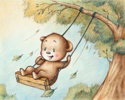 Nálepka Swinging Teddy Bear