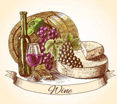 Nálepka Sýr víno a chléb pozadí