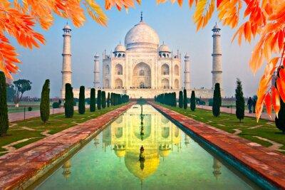 Nálepka Taj Mahal při východu slunce, Agra, Uttar Pradesh, Indie.