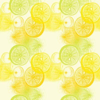 Nálepka Tapety bezproblémové vzorek s rukou vypracován pomeranče citrusů. Drawi