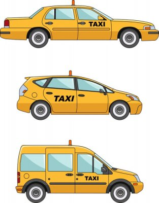 Nálepka Taxi auto na bílém pozadí v plochém stylu