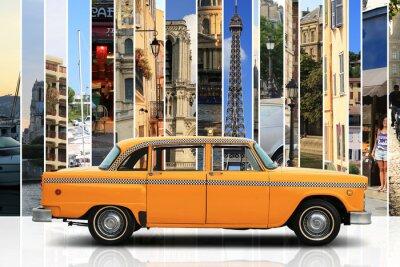 Nálepka Taxi, retro auto oranžové barvy na bílém pozadí