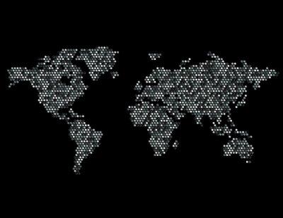 Nálepka Tečkovaná mapa světa kontinentů Random Gray