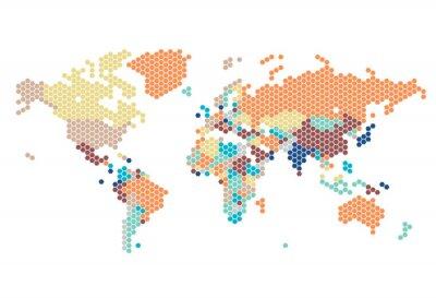 Nálepka Tečkované Mapa světa z šestiúhelníkových teček