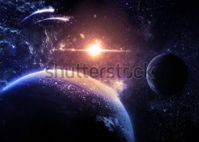 Nálepka Temná planeta a Měsíc nad zářící hvězdou - prvky tohoto obrazu, které poskytla NASA