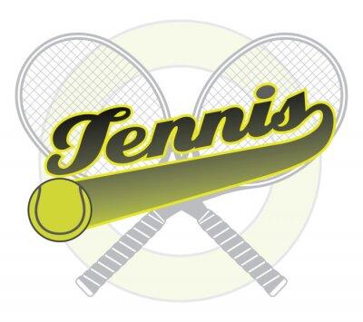 Nálepka Tenis s ocasem Banner je znázorněním tenisového designu se slovem tenis s ocasem banner pro vlastní text, tenisový míček a tenisové rakety.