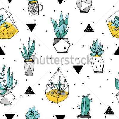 Nálepka Terrarium bezešvé vzor. Succulents texture. Ručně kreslená minimalistická ilustrace. Skandinávský design s květinovými a geometrickými prvky