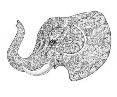 Nálepka Tetování profil slon se vzory a ornamenty