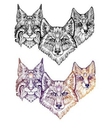 Nálepka Tetování. Vlk, rys, a liška