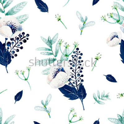 Nálepka Texture consist of white anemones, blue leafs, white inflorescences and mint leafs.