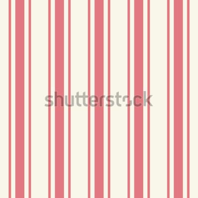 Nálepka Tileable plain tenká světle růžová barva pinstripe šablony v umělecké jednoduché klasické karmínové stylu tisku na béžové fond. Opakování moderních pestrých tučných proužků. Detailní detailní pohled s
