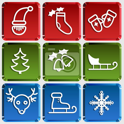 Tlačítko s jednoduchými Vánoční ikony