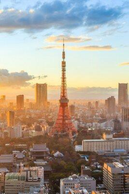 Nálepka Tokio panorama města při západu slunce v Tokiu