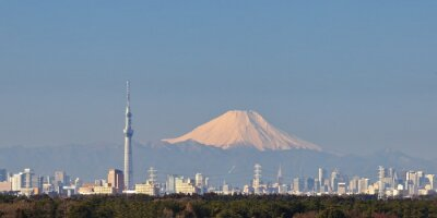 Nálepka Tokio pohled město s Tokio nebe strom a hory Fuji