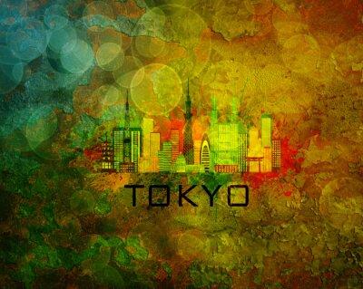 Nálepka Tokyo City Skyline na pozadí grunge Ilustrace