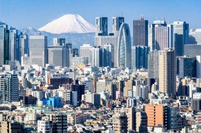 Nálepka Tokyo im Winter mit Fujiyama im pozadí
