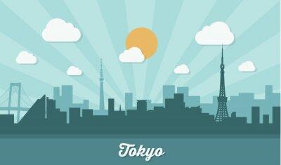 Nálepka Tokyo panorama - plochý design