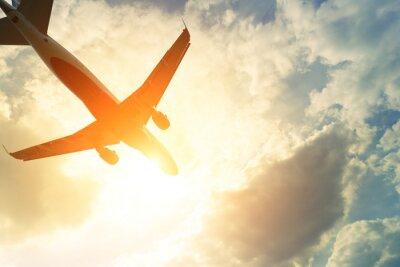Nálepka Tónovaný fotografie komerční letadlo na slunci