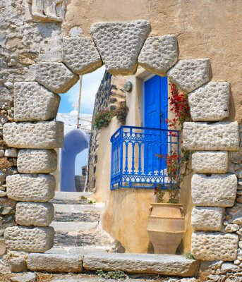 Nálepka Tradiční architektura vesnice Oia na Santorini Island, Gre