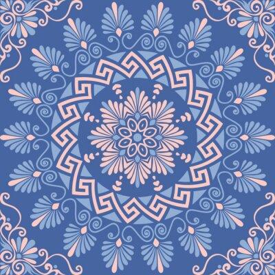Nálepka Tradiční vinobraní bezešvé růžové, bílé a modré kolo květinový ornament Greek, Meander