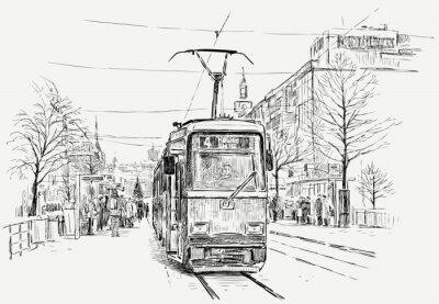 Nálepka tramvaj ve velkém městě