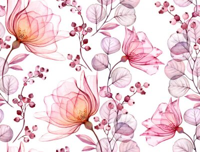 Nálepka Transparent rose watercolor seamless pattern. Hand drawn floral illustration with pink berries for wedding design, surface, textile, wallpaper