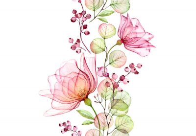 Nálepka Transparent watercolor rose. Seamless vertical border. Isolated hand drawn arrangement with big flowers, eucalyptus and berries for wedding design, stationery card print