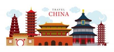 Nálepka Travel China Building a město, cíl, atrakce, tradiční kultura