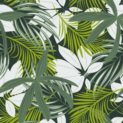 Nálepka Trending abstract seamless pattern with colorful tropical leaves and plants on green background. Vector design. Jungle print. Floral background. Printing and textiles. Exotic tropics. Fresh design.