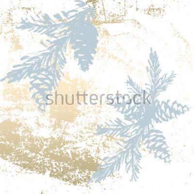 Nálepka Trendy Chic Pastelové barevné pozadí s tvary zlaté fólie a malované vánoční stromky siluety. Abstraktní neobvyklé textury na tapety, pohlednice, hlavičky, dekorace. vektor