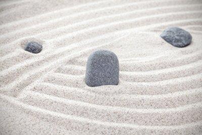 Nálepka Tři kameny v písku, zen koncept
