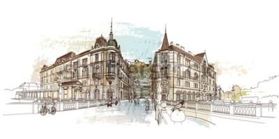Nálepka Trojitý most (Tromostovje). Vektorové ilustrace Lublaně, Slovinsko.