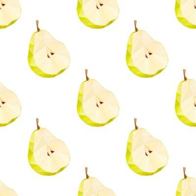 Nálepka Trojúhelník polygonální hruška vektorové ilustrace. Juicy Fruit.