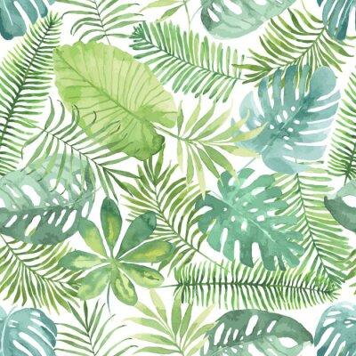 Nálepka Tropical bezešvé vzor s listy. Akvarel pozadí s tropickými listy.