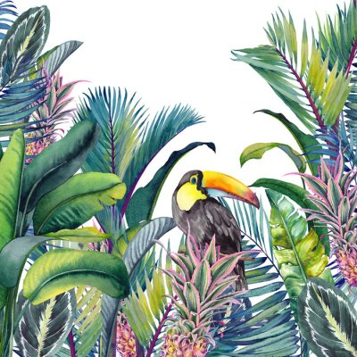 Nálepka Tropical card with Toucan, palm trees, pineapples, banana and calathea leaves. Watercolor illustration on white background.