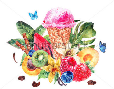 Nálepka Tropical hand painting summer watercolor natural eco food background with fruits, soft Italian fruit ice cream, summer nature exotic sale card
