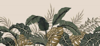 Nálepka Tropical palm leaves, jungle leaves seamless vector floral pattern background.