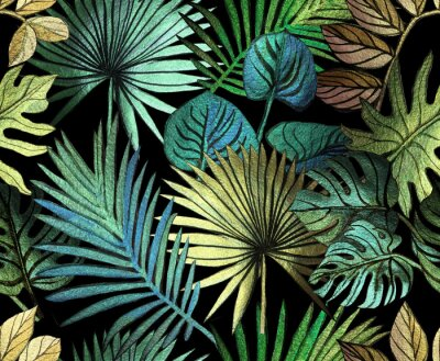 Nálepka Tropical pattern painted with shiny paints.  rose gold tropical leafs