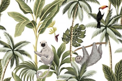 Nálepka Tropical vintage animals, toucan, palm trees, banana tree floral seamless pattern white background. Exotic jungle wallpaper.