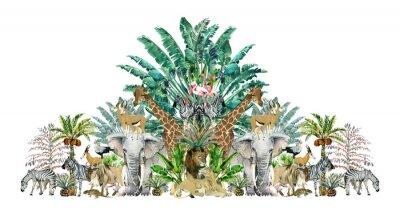 Nálepka Tropical vintage botanical island. Watercolor border with safari animals and palm trees. Exotic jungle wallpaper.